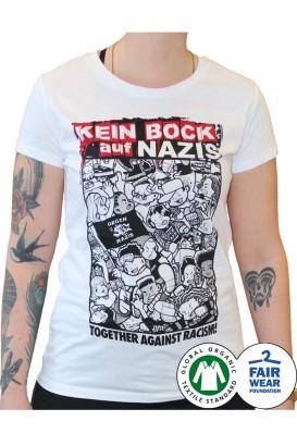 T-Shirt Kein Bock auf Nazis weiß tailliert