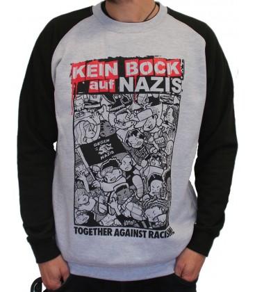 Sweater Baseball Kein Bock auf Nazis grey