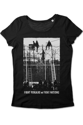 tailliertes T-Shirt Fight Borders Fight Nations