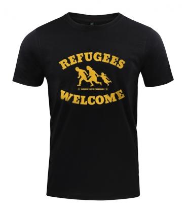 T-Shirt - Refugees Welcome - schwarz
