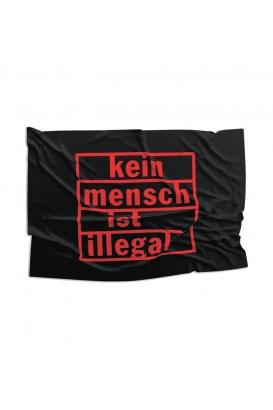 """Fahne """"Kein Mensch ist illegal"""" red"""